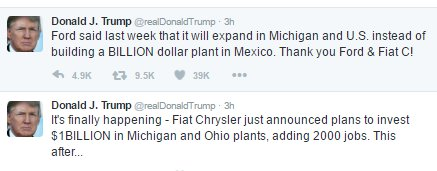 Image result for President Trump thanks Fiat Chrysler for 'coming back to the USA'